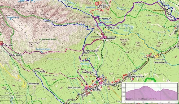 30 km, stúpanie 1614 m, klesanie 1615 m. Klikni na obrázok pre zobrazenie trasy na Hiking.sk.