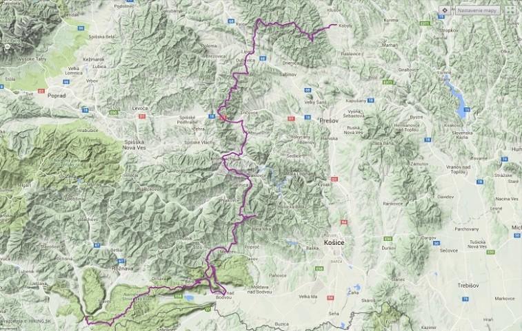212 km, stúpanie 6800 m, klesanie 6970 m. Klikni na obrázok pre zobrazenie trasy na Hiking.sk.