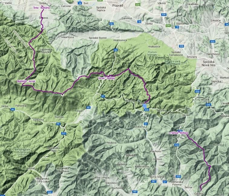 Trasa: 81 km, stúpanie 3593 m, klesanie 4128 m. Klikni na obrázok pre zobrazenie trasy na Hiking.sk.