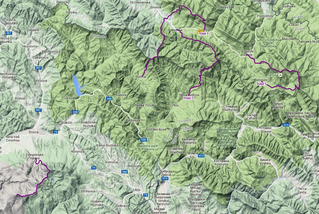 Trasa v 4 etapách: 83 km | stúpanie 3131 m | klesanie 14989 m. Klikni na obrázok pre zobrazenie trasy na Hiking.sk.