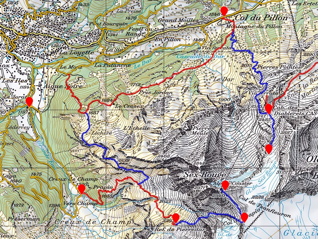 Štart v Le Jorat, cez Creux de Champ a chatu Pierredar do sedla Prapio, zostup cez medzistanicu lanovky do Col du Pillon. Farebné čiary nie sú naša trasa, ale sú turistické chodníky.