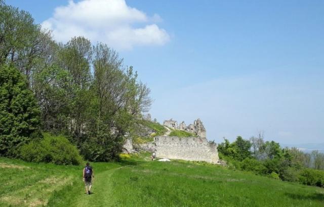 Zrúcanina Korlátko, ku skale treba odbočiť do žihľavy za prvým múrom