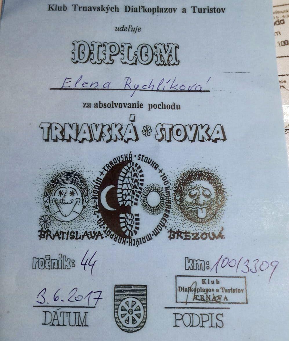 Výsledok prípravy - diplom z Trnavskej stovky