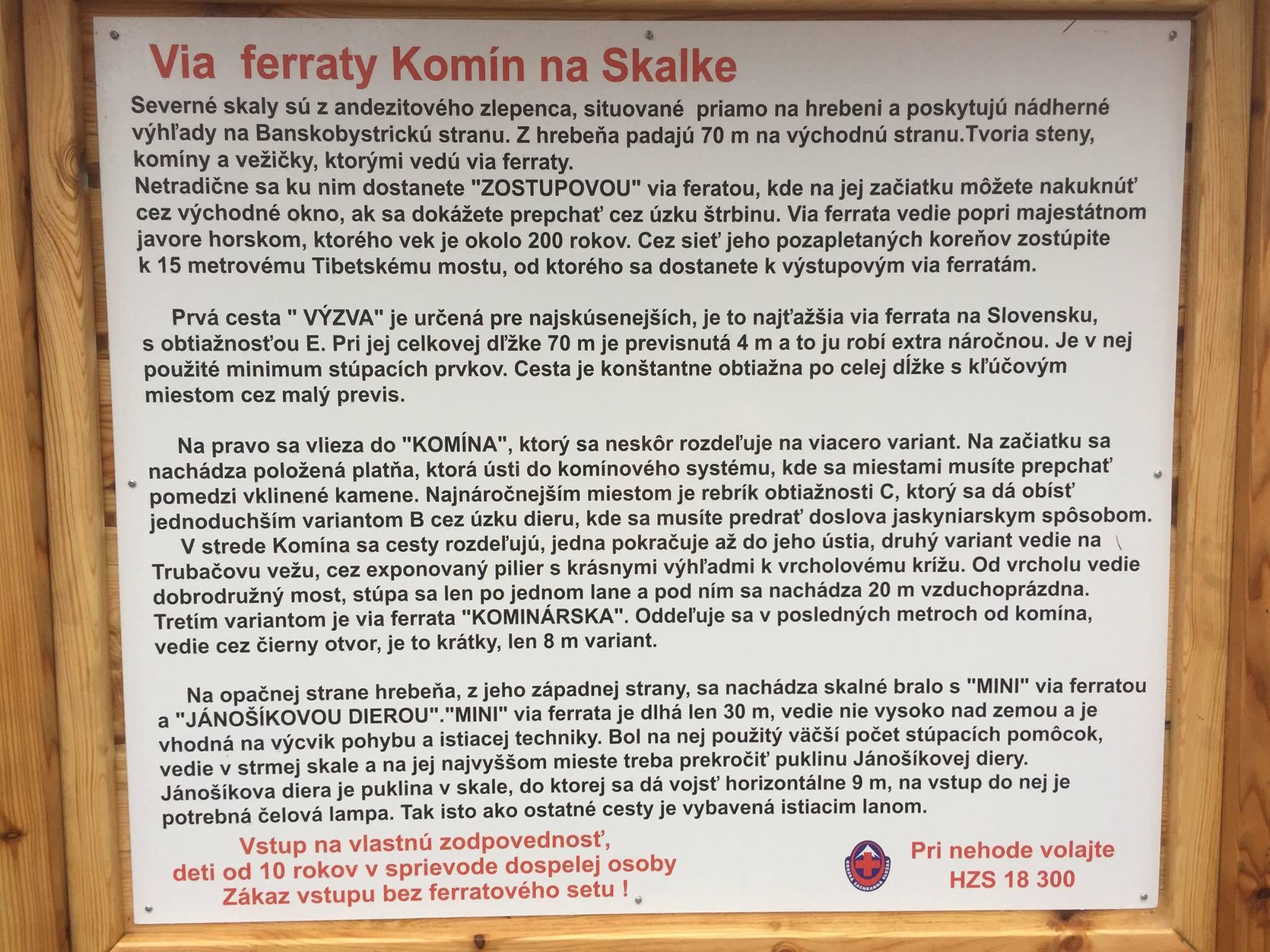 Ferrata Komín na Skalke - orientačná tabuľa
