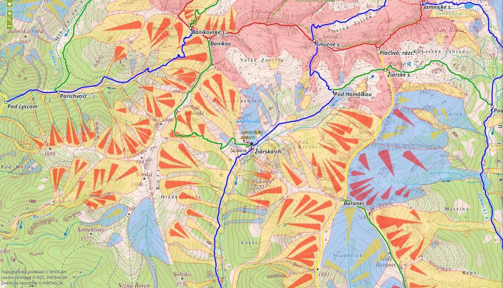 lavínová mapa