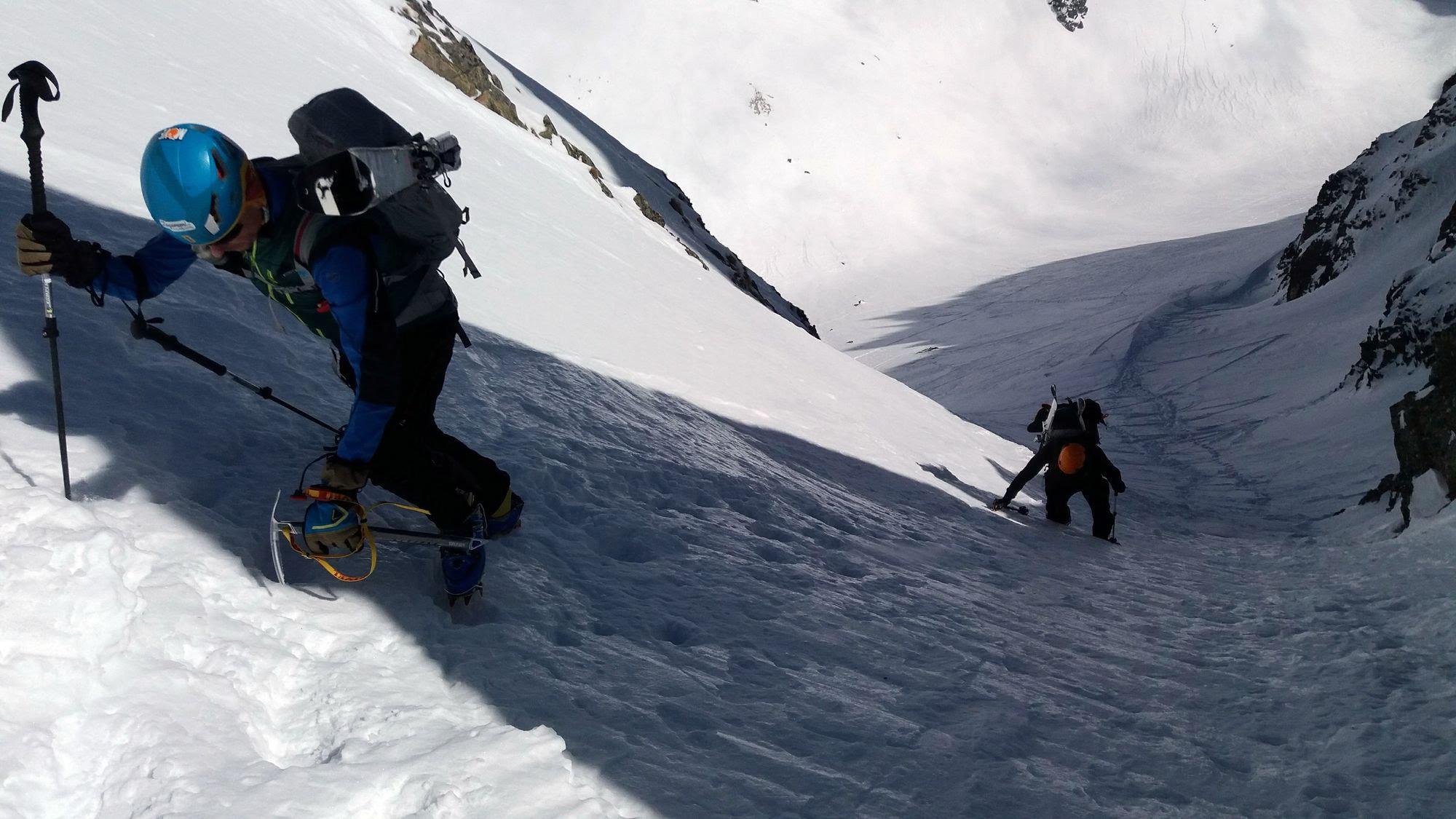 Posledné ľadové metre stúpania do Priečneho sedla